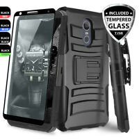 For LG Stylo 4 / 4 Plus Rugged Phone Case Belt Clip Holster+Black Tempered Glass