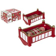 7 L Mini Baby Red Rocking Elf Bed W/blanket In Printed Box - Christmas Naughty