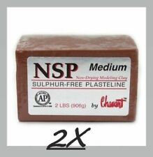 2 PACK Chavant NSP Medium - Non Sulfur Based Fine Sculpting Clay - BROWN