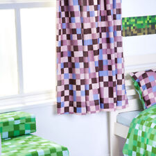 Green Pixels Minecraft Curtains 66 by 54 Drop With Matching Tie Backs