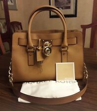 Michael Kors genuine leather Hamilton handbag, color light brown