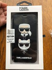 Genuine KARL LAGERFELD iPhone XR Case w/ Card Slots Iconic Chanel Designer Black
