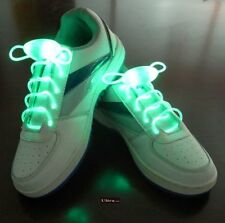 Green Coloured LED Bright light up waterproof shoelaces for trainers shoes