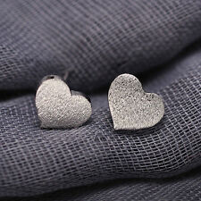 New Fashion Women Frosted Heart 925 Sterling Silver Ear Stud Earrings Jewelry