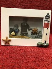 Lighthouse Picture 3D With Real Sand in White Shadowbox Frame Pre-Owned
