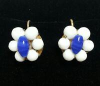 Vintage White & Navy Blue Floral Beaded Cluster Clip On EARRINGS Flower Bead