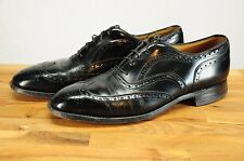 Johnston & Murphy Aristocraft Black Leather Wing Tip Oxfords Dress Shoes 10 C/A