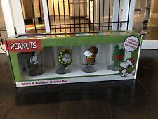 Snoopy Peanuts Christmas Drinking Glass Set 4 Pint 16oz w/ Coasters Rare