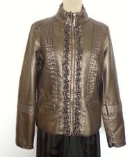 Paper Denim & Cloth PU Leather Jacket ShineGold/Brown Front Zipper Frills Size L