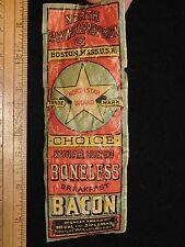 1870s-80s Sugar Cured Bacon North Star Brand Boston Victorian Paper Label L6