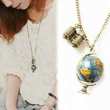 WDS Vintage Globe Necklace Planet Earth World Map Art Pendant Ball Chain Gift