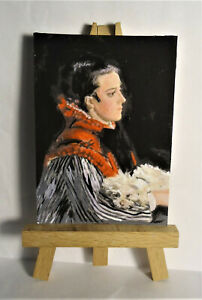 Woman with Dog ACEO Original PAINTING by Ray Dicken a Claude Monet