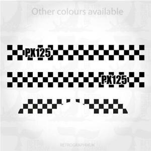 Vespa PX 125 side panel & mudguard graphics   stickers   2 tone skinhead mod 002