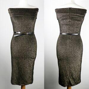 NEW TED BAKER Bronze Vindy Bardot Midi Bodycon Dress Size 2 UK 10 Fitted Stretch