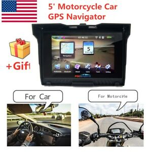 "5"" Motorcycle Car GPS Bluetooth Navigator 8GB Waterproof Navigation SAT NAV Maps"