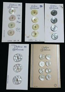 #5 Lot Vtg JHB Schwanda CARDED 2 Hole BUTTONS Mother of Pearl MOP Swirl Pattern