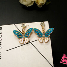New ListingBlue Enamel Butterfly Insect Crystal Betsey Johnson Women Stand Earrings