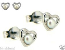 Bridal 925 Sterling Silver Small Fresh Water Pearl Heart Studs Earrings BDAYGIFT