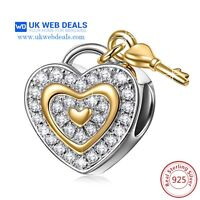 Love Heart Lock And Key Charm Ideal Gift,Jewellery,bracelet Charms Not Pandora