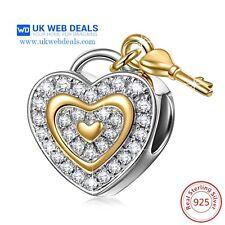 Love Heart Lock And Key Charm Ideal Gift,Jewellery,bracelet Charms Not Pandora