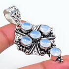 """Fire Opal Gemstone Cross 925 Sterling Silver Jewelry Pendant 2.17"""" v352"""