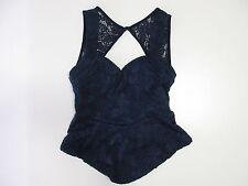 Women's PARADISCO Size 10 AU Top Blue ExCon Lacey Polyester Stretchy Tank Singlt