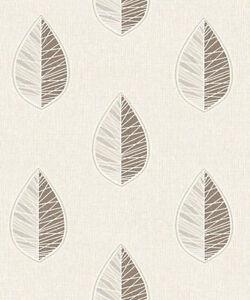 Crown Scandi Leaf Chocolate Glitter Textured Vinyl Wallpaper M1254-06A