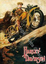 Harley Davidson Vintage Advertising ART PRINT - FREE UK P&P