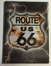"""Route 66 Shield w/ Lightning - 2.5"""" x 3.5"""" Ice Box Magnet   MG6UBS"""