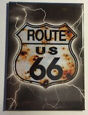 "Route 66 Shield w/ Lightning - 2.5"" x 3.5"" Ice Box Magnet   MG6UBS"