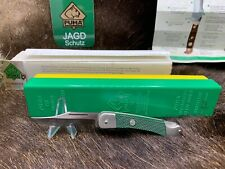 """1982 Puma Cadet 3 3/4"""" Knife With Green Checkered Handles Mint In Box -23 0460 A"""