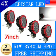 "4pc 7"" inch 51W Round LED Work Lights Spot Beam Offroad Boat ATV SUV Truck Lamps"