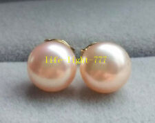 wholesale real AAAA Natural south sea 8-9mm pink stud pearl earrings 14k Gold