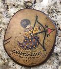 VTG 1970s Folk Art Sagittarius Zodiac Astrological Decoupage & Wood Plaque Hays