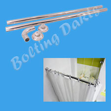 Shower Curtain Corner Rail 90x90cm 28mm Diameter Rod Bath Pole Bathroom