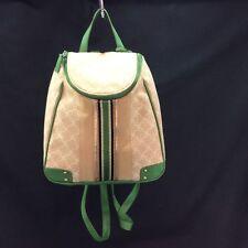 BANDOLINO Backpack Purse Green & Tan NWOT Shoulder Strap Cotton & Poly