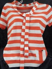 Burberry London Pure Cashmere Jumper/Sweater Orange & White Stripes~Brand New