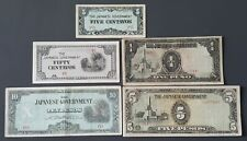 Jim Philippines Japan occupation lot 5 circulated banknotes Wwii invasion money