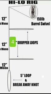 Fishing Hi - Lo Bottom Rig Double Dropper Loop 30 Lb Mono Line Fluke Sea Bass