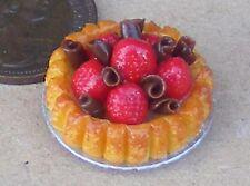 1:12 Scale Strawberry & Chocolate Flan 2.2cm Tumdee Dolls House Accessory D20