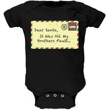 Dear Santa It Was All My Brothers Fault Black Newborn Infant One Piece Onesie