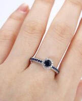 1.6ct Round Cut Blue Sapphire Engagement Ring 14k White Gold Over Halo Solitaire