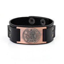 Wicca Tetragrammaton Pentagram Women Mens Bracelet Leather Wristband Cuff Bangle