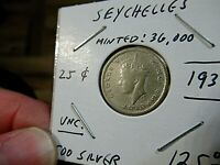1939 Seychelles Silver Coin, 25 Cents, UNC., Low Mint, ONLY 36,000 Minted