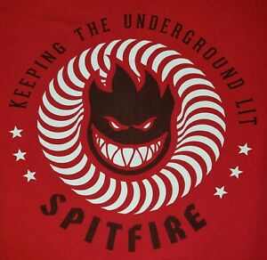 Spitfire Keeping the Underground Lit Red Men's T-Shirt Small