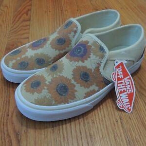 VANS Classic Slip On Shoes Womens 9 Beige Orange Floral Spring Summer NEW