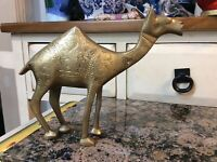 Vintage very heavy  Mid Century Brass Camel Animal Figure 2 pounds  Figurine
