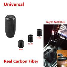 Universal Real Carbon Fiber Car Gear Shift Knob Shifter Handle Black w/ Adaptes