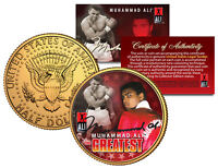 MUHAMMAD ALI * THE GREATEST * JFK Kennedy Half Dollar 24K Gold Plated U.S. Coin