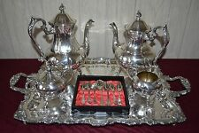 SHERIDAN SILVER on COPPER PEDESTAL COFFEE TEA SET, BUTLER TRAY & SPOONS